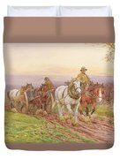 When The Days Work Is Done Duvet Cover by Charles James Adams