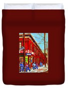 When We Were Young - Hockey Game At Piche's - Montreal Memories Of Goosevillage Duvet Cover