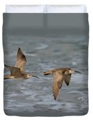 Whimbrels Flying Above Beach Duvet Cover
