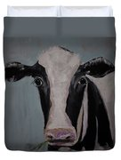 Whimisical Holstein Cow Original Painting On Canvas Duvet Cover