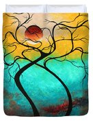 Whimsical Abstract Tree Landscape With Moon Twisting Love IIi By Megan Duncanson Duvet Cover