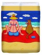 Whimsical Beach Seashore Woman And Dog Duvet Cover
