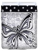 Whimsical Black And White Butterfly Original Painting Decorative Contemporary Art By Madart Studios Duvet Cover