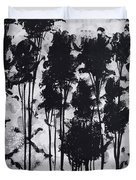 Whimsical Black And White Landscape Original Painting Decorative Contemporary Art By Madart Studios Duvet Cover