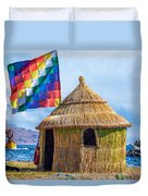Whiphala Flag On Floating Island Duvet Cover