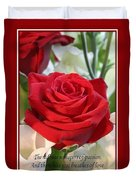 Whispers Of Passion And Love Red Rose Greeting Card  Duvet Cover