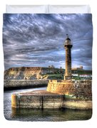 Whitby Harbour On The North Yorkshire Coast Duvet Cover