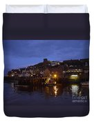 Whitby Lower Harbour And The Rnli Lifeboat Station At Night Duvet Cover