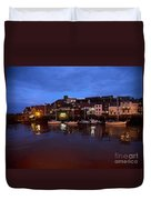 Whitby Lower Harbour At Night Duvet Cover