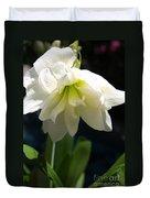 White Amarillys Duvet Cover