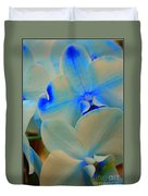 White And Blue Orchid Duvet Cover