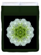 White And Green Begonia Flower Mandala Duvet Cover