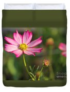 White And Magenta Cosmos Duvet Cover