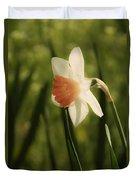 White And Orange Daffodil Duvet Cover