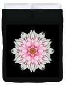 White And Pink Dahlia I Flower Mandala Duvet Cover