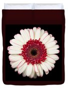 White And Red Gerbera Daisy Duvet Cover