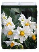 Garden Blossoms White And Yellow Garden Blossoms Duvet Cover