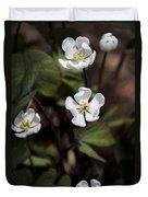 White Anemone Flowers Duvet Cover