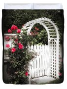 White Arbor With Red Roses Duvet Cover by Elena Elisseeva