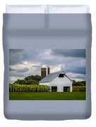 White Barn And Silo With Storm Clouds Duvet Cover
