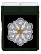 White Beach Rose IIi Flower Mandala Duvet Cover