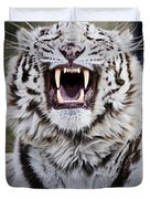 White Bengal Tiger At Forestry Farm Duvet Cover