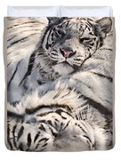 White Bengal Tigers, Forestry Farm Duvet Cover