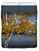 White Birch Tree In Autumn Along The Shore Of Crystal Lake Duvet Cover