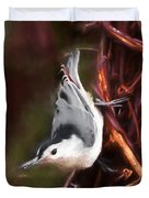 White-breasted Nuthatch - Classic Pose Duvet Cover