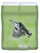 White-breasted Nuthatch Flying With Food Duvet Cover