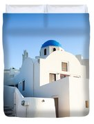 White Buildings And Blue Church In Oia Santorini Greece Duvet Cover by Matteo Colombo