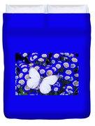 White Butterfly In Blue Flowers Duvet Cover