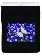 White Butterfly On Blue Cineraria Duvet Cover