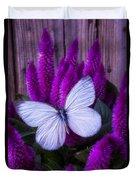 White Butterfly On Flowering Celosia Duvet Cover