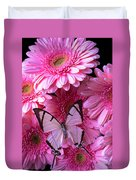 White Butterfly On Pink Gerbera Daisies Duvet Cover