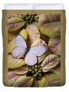 White Butterfly On Poinsettia Duvet Cover