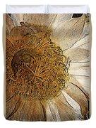 White Cactus Flower Gold Leaf Duvet Cover