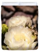 White Cactus Rose Duvet Cover