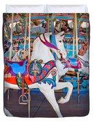 White Carousel Horse Duvet Cover