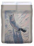 White Cat In Snow Duvet Cover