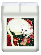 White Cat On A Cushion Duvet Cover