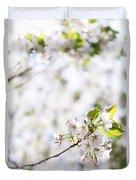 White Cherry Blossom Flowers  Duvet Cover