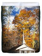 White Church In Autumn Duvet Cover