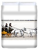 White Coach Horses Duvet Cover