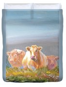 White Cows Painting Duvet Cover