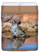 White-crowned Sparrow Bathing Duvet Cover