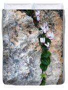 White Cyclamen Flowers Duvet Cover
