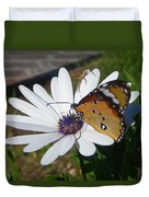 White Daisy And Butterfly Duvet Cover