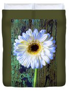 White Daisy With Green Wall Duvet Cover