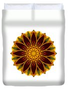 Deep Orange Marigold V Flower Mandala White Duvet Cover